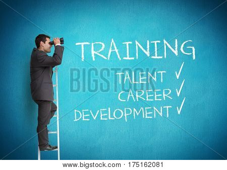Digital composite image of businessman standing on success ladder and looking through binoculars with text on blue background