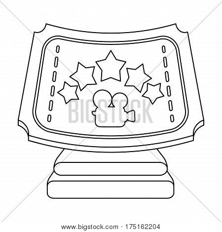 Silver prize with star, and camera on a stand.Movie awards single icon in outline style vector symbol stock web illustration.