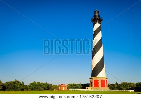 The Cape Hatteras lighthouse from a distance