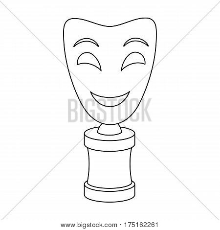 White mask MIME on the stand.The prize for best drama.Movie awards single icon in outline style vector symbol stock web illustration.
