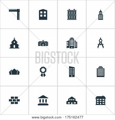Vector Illustration Set Of Simple Architecture Icons. Elements Structure, Reward, Engineer Tool And Other Synonyms Construction, Brick And Achievement.