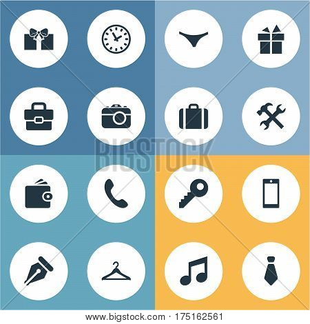 Vector Illustration Set Of Simple Instrument Icons. Elements Mobile Phone, Time, Billfold And Other Synonyms Photographing, Present And Gift.