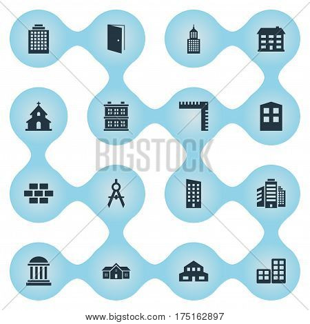 Vector Illustration Set Of Simple Architecture Icons. Elements Structure, Academy, Superstructure And Other Synonyms Residence, Cottage And Scale.