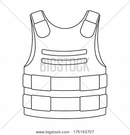 Bulletproof vest icon in outline design isolated on white background. Police symbol stock vector illustration.
