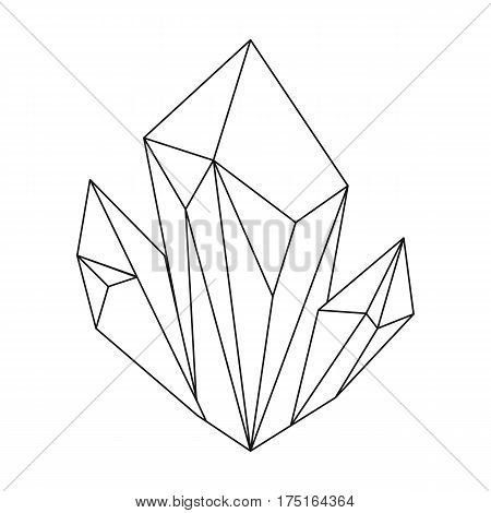 Blue natural mineral icon in outline design isolated on white background. Precious minerals and jeweler symbol stock vector illustration.