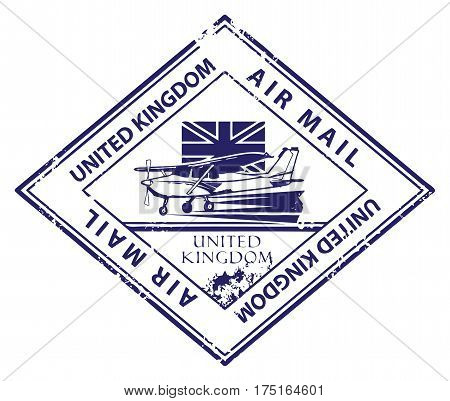 Grunge rubber stamp with airplane and the word Air Mail, United Kingdom inside