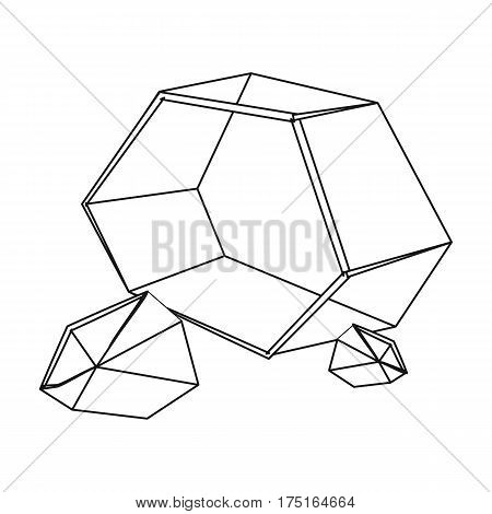 Purple rough gemstone icon in outline design isolated on white background. Precious minerals and jeweler symbol stock vector illustration.