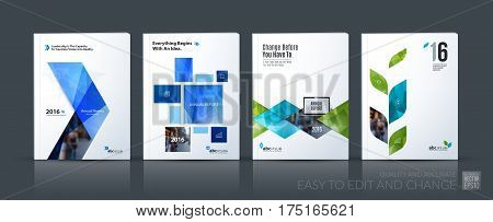 Business vector set. Brochure template layout, cover design annual report, flyer in A4 with blue geometric shapes for PR, business, tech on bright background. Abstract creative design.
