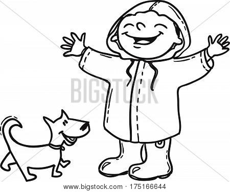 Joyful boy in raincoat with dog. Hand drawn doodle Spring concept.