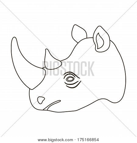 Rhinoceros icon in outline design isolated on white background. Realistic animals symbol stock vector illustration.