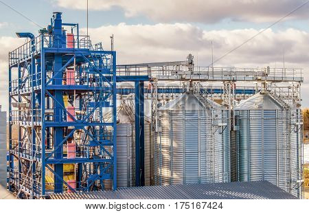 Agriculture. modern silos for storing grain harvest