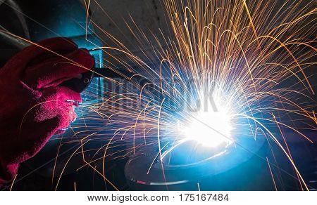 Electric welding of metal parts. Metalwork factory