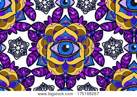 Seamless pattern. Beautiful ornamental peony, rose flower with an eye of providence. Old school tattoo, print T-shirts, packaging, smartphone cover, napkins, pillows. Alchemical Tarot Magic flower.