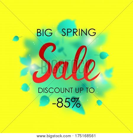 Spring sale placard template for card, placard, flyer, banner, brochure. Green blurred leafs on yellow background.