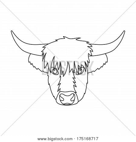 Highland cattle head icon in outline design isolated on white background. Scotland country symbol stock vector illustration.
