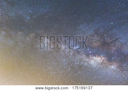Milky Way and the starry sky captured from a full frame camera long exposure photograph at 3200 iso and f/2.8. ** Note: Visible grain at 100%