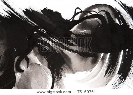 Black and white hand painted brush strokes