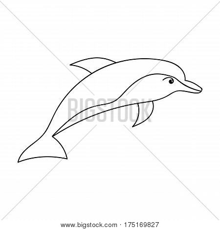 Dolphin icon in outline design isolated on white background. Sea animals symbol stock vector illustration.