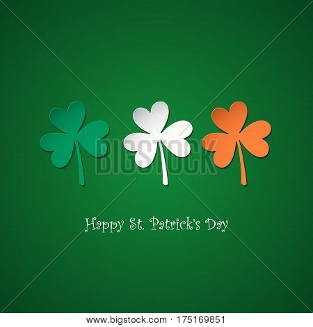 Happy Saint Patrick's Day greeting card with lucky clovers in colors of the irish national flag. Vector illustration.
