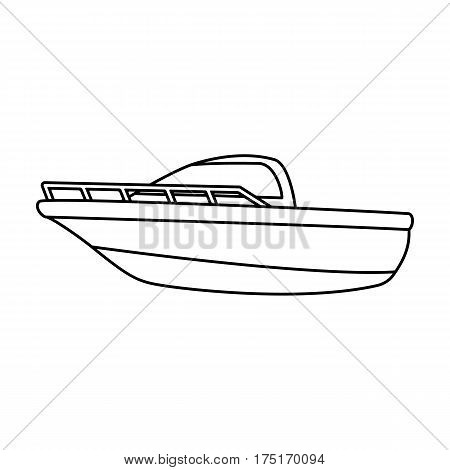 Blue metal boat.Police boat.A means of transportation on water.Ship and water transport single icon in outline style vector symbol stock web illustration.