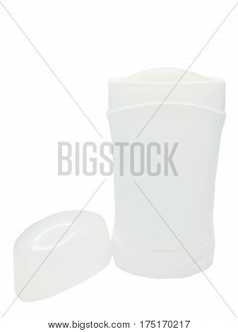 cosmetic white bottle of deodorant isolated on white background