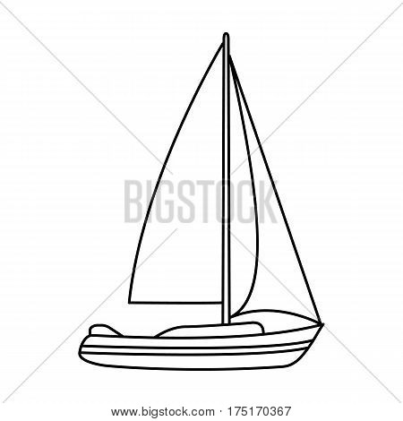 Sailboat for sailing.Boat to compete in sailing.Ship and water transport single icon in outline style vector symbol stock web illustration.