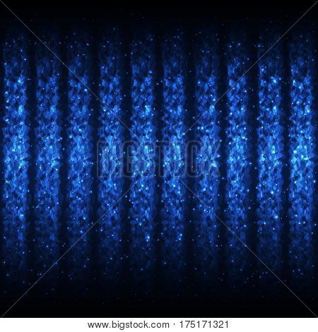 Seamless Pattern of Light Blue Wave Lines for App Program Website. Continuous Neon Background with Effect of Shimmering Flying Particles.