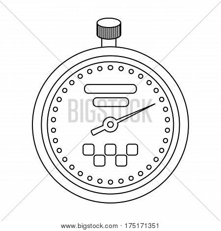 Yellow stopwatch with taxi emblem. Equipment measure the time of filing a taxi. Taxi station single icon in outline style vector symbol stock web illustration.