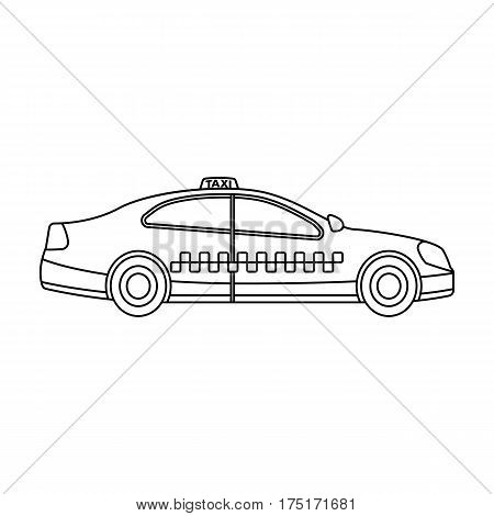 Yellow taxi car in profile.Transport taxi station for passengers. Taxi station single icon in outline style vector symbol stock web illustration