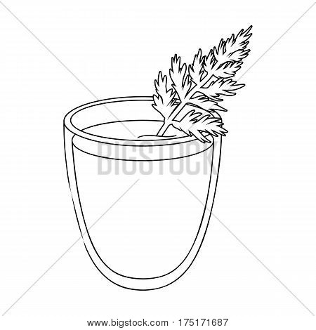 A glass with orange drink and a leaf.Healthy vegetarian carrot juice.Vegetarian Dishes single icon in outline style vector symbol stock web illustration.