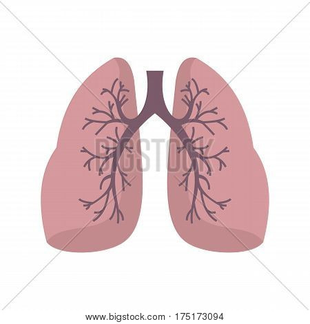 Lungs icon in flat style isolated on white background vector illustration