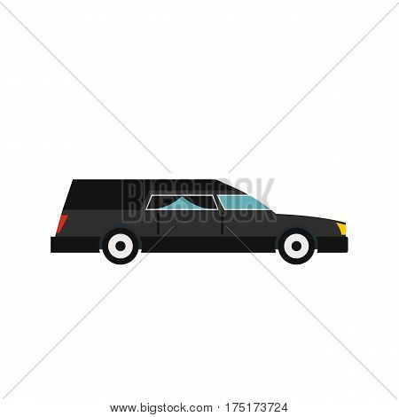 Hearse icon in flat style isolated on white background vector illustration