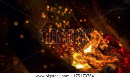 Unreal and beautiful blurred flame in the fire