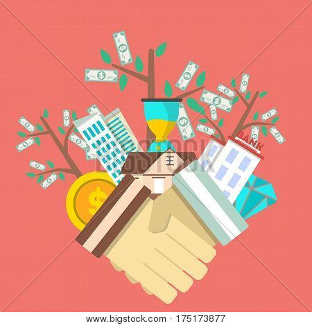 Investing in future concept with money tree and shaking hands vector illustration. Smart investment, finance and banking, commercial real estate, strategic management, financial analysis and planning