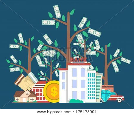 Investing in future concept with money tree vector illustration. Flat design for smart investment, finance and banking, commercial real estate, strategic management, financial analysis and planning