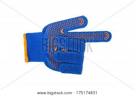 Working glove blue on a white background. glove folded in the form of the index mark
