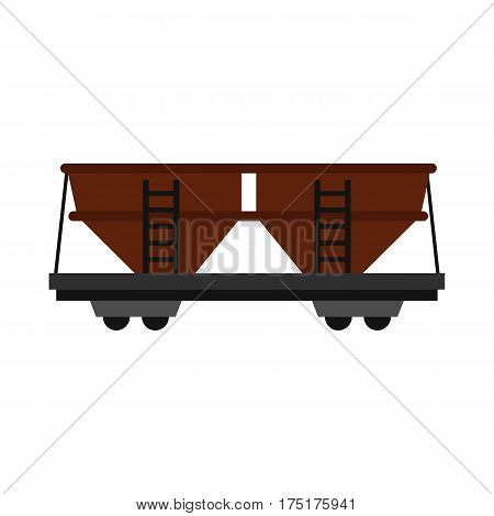 Freight railroad car icon in flat style isolated on white background vector illustration
