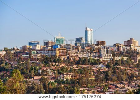 Panoramic view of the city business district of Kigali Rwanda 2016