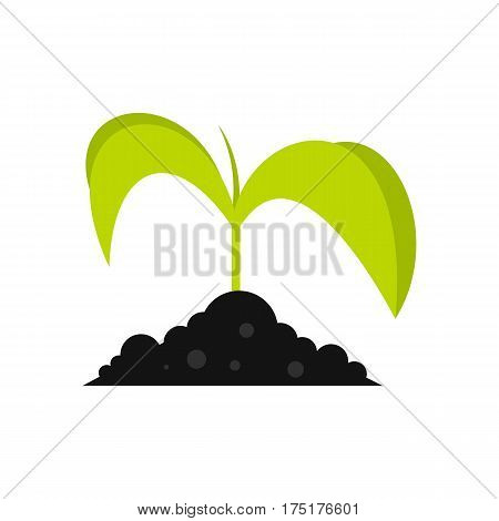 Green seedling in soil icon in flat style isolated on white background vector illustration