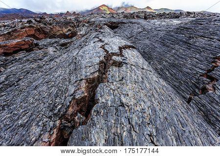 Crevasses in scorched lava fields, Kamchatka volcano park