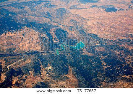 Aerial of Embalse Santolea Dam in Aragon of Spain