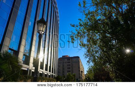 Aragon avenue in Valencia modern buildings at Spain