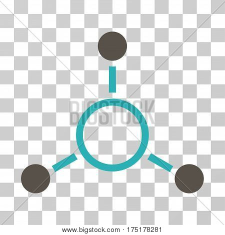 Radial Structure icon. Vector illustration style is flat iconic bicolor symbol grey and cyan colors transparent background. Designed for web and software interfaces.