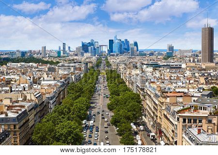 Paris skyline aerial Champs Elysees and La Defense in France