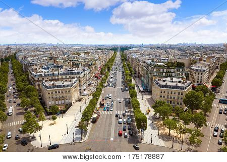 Paris skyline Champs Elysees and Concorde aerial view in France