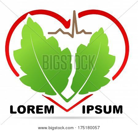 Abstract medical health icon with silhouette of stylized heart shape pair of green leaves and line of cardiogram and shadow. Can used as logo symbol or emblem for herbal medicine or etc.