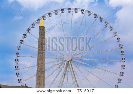Place de la Concorde Obelisque and Grande Roue in Paris France
