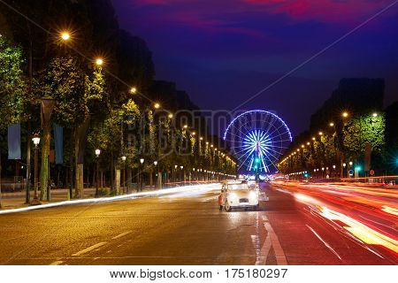 Champs Elysees in Paris and Concorde sunset at France