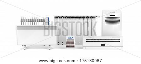 Different types of domestic electric heaters on white background, 3D illustration