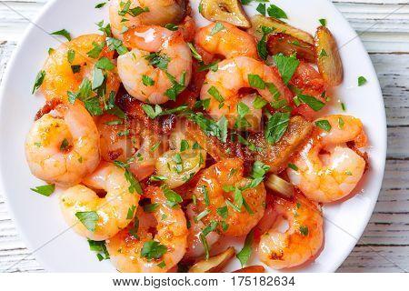 Garlic shrimp pinchos tapas from Spain gambas al ajillo